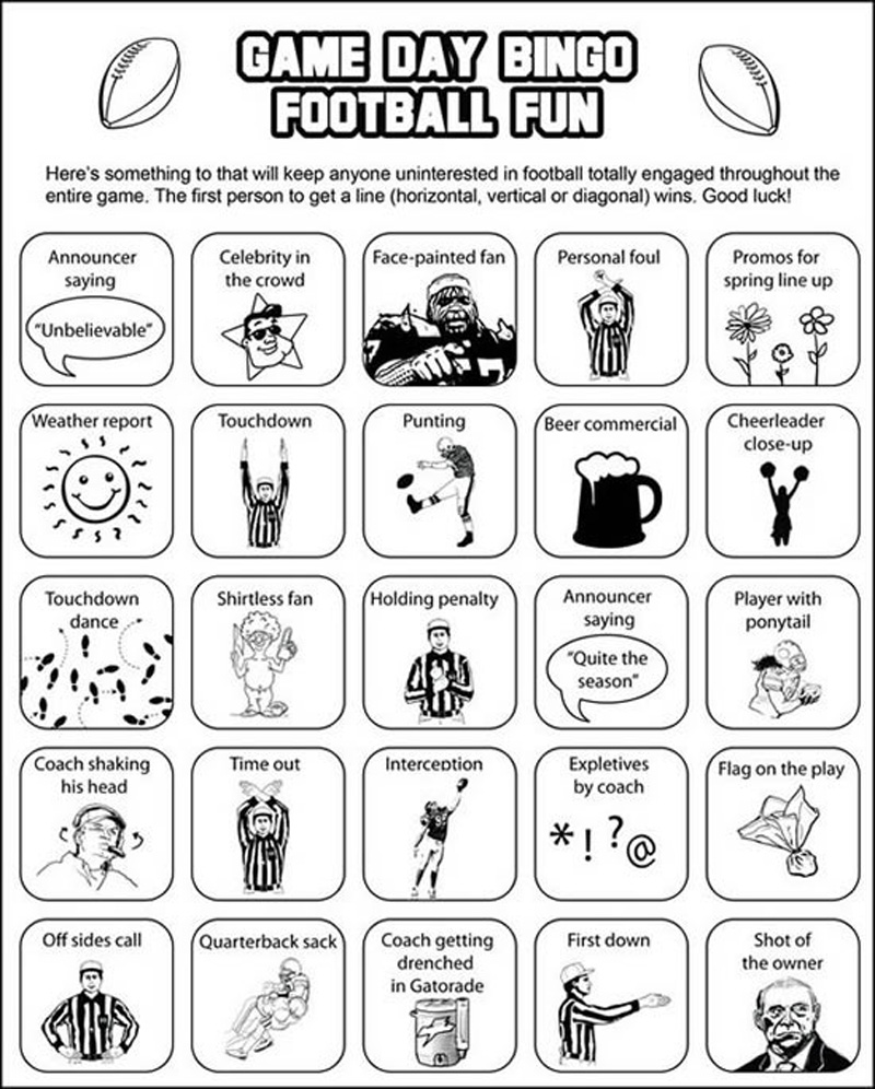 It's just a picture of Superb Free Printable Football Bingo Cards